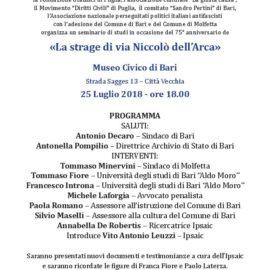 """Seminario """"La strage di via Niccolò dell'Arca"""""""